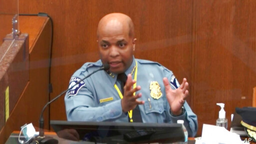 In this image from video, witness Minneapolis Police Chief Medaria Arradondo testifies as Hennepin County Judge PeterCahill…