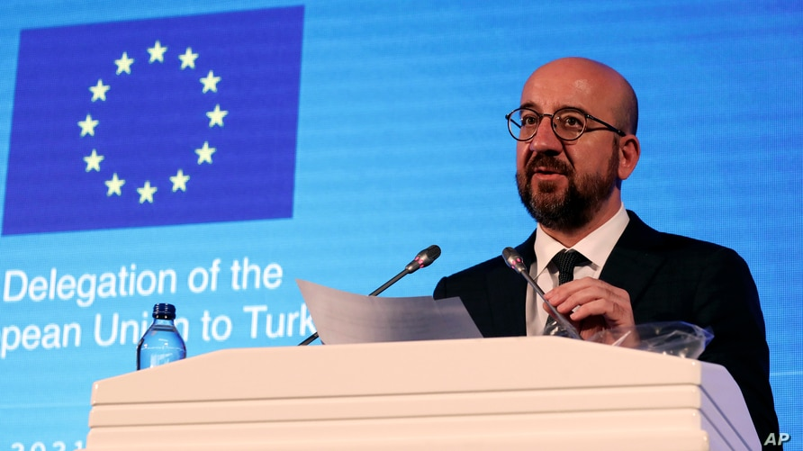EU Council President Charles Michel speaks during a joint news conference with European Commission President Ursula von der…