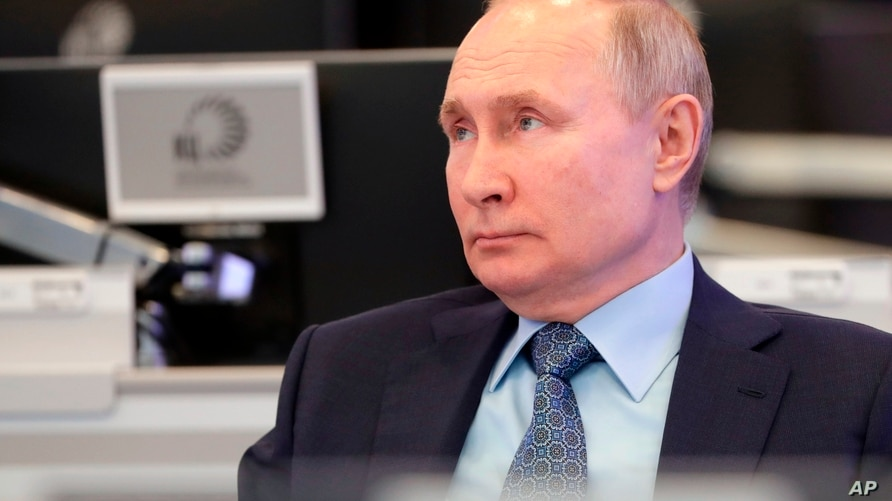 Russian President Vladimir Putin visits the Coordination Center of the Russian Government in Moscow, Russia.