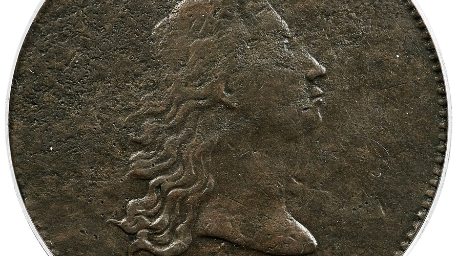 """This is the front of a piece of copper that was struck by the U.S. Mint in Philadelphia in 1794 and was a prototype for the fledgling nation's money. The item, which is known as the """"No Stars Flowing Hair Dollar,"""" sold for nearly $1 million."""