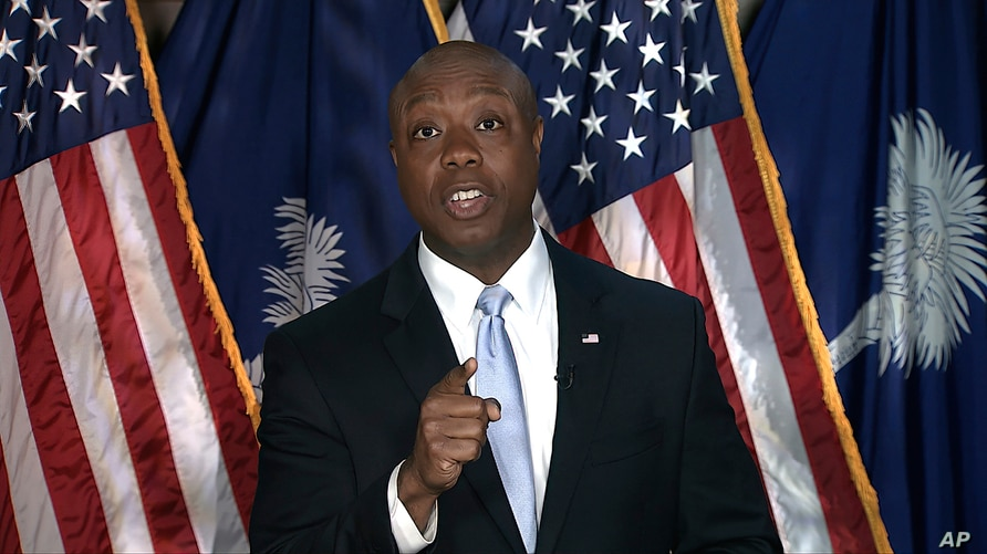 In this image from Senate Television video, Sen. Tim Scott, R-S.C., delivers the Republican response to President Joe Biden's…
