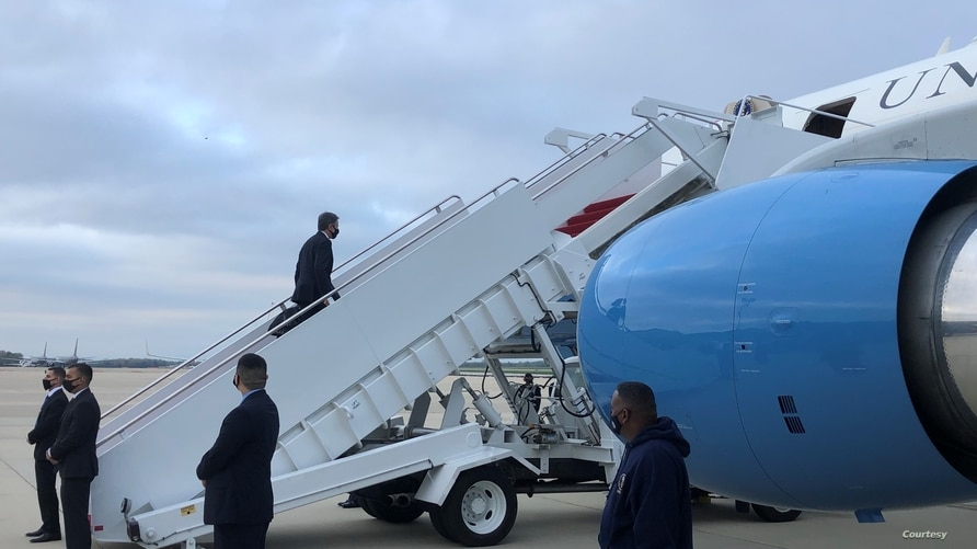 US Secretary of State Antony Blinken boards a plane to Brussels at Joint Base Andrews in Maryland, April 12, 2021.