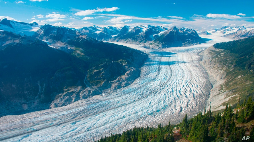 This September 2017 photo provided by researcher Brian Menounos shows the Klinaklini glacier in British Columbia, Canada.