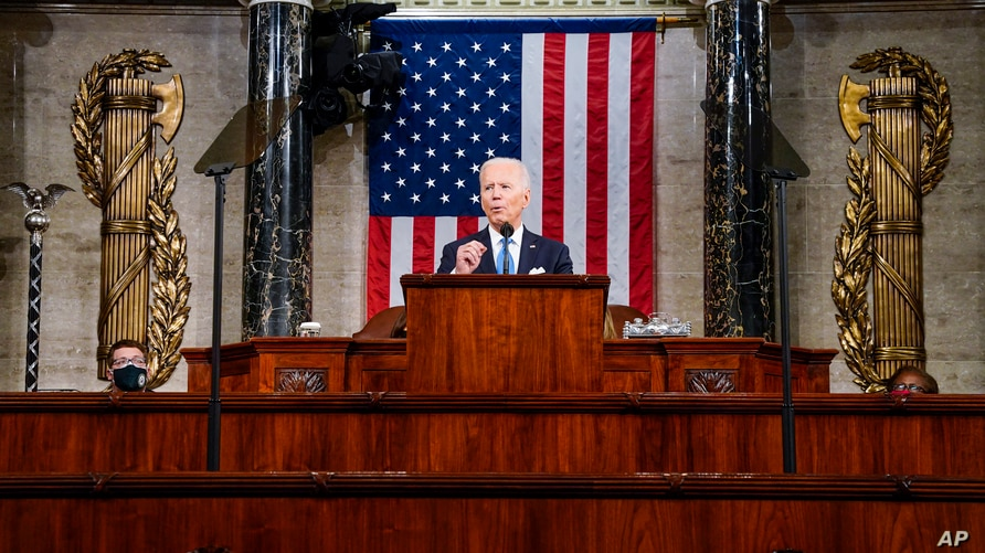 President Joe Biden addresses a joint session of Congress, April 28, 2021, in the House Chamber at the U.S. Capitol in Washington.