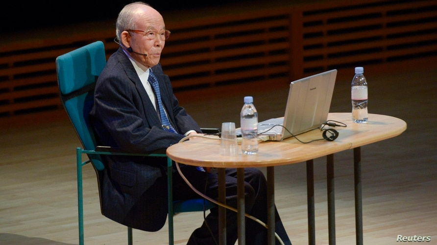 FILE - Nobel physics laureate Isamu Akasaki looks on during a lecture at Stockholm University, in Stockholm, Sweden, Dec. 8, 2014.