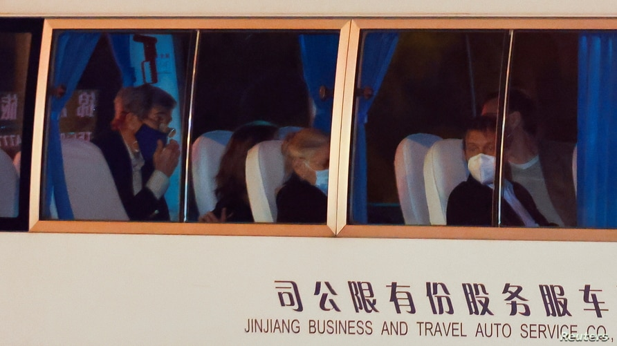 A vehicle with U.S. Special Presidential Envoy for Climate John Kerry on board arrives to a state guest hotel during his visit, in Shanghai, China, April 14, 2021.