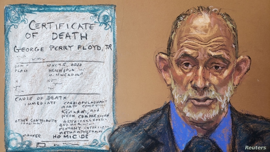 Former chief medical examiner of Maryland, Dr. David Fowler, answers questions on the thirteenth day of former Minneapolis police officer Derek Chauvin's trial in Minneapolis, Minnesota, April 14, 2021 in this courtroom sketch.