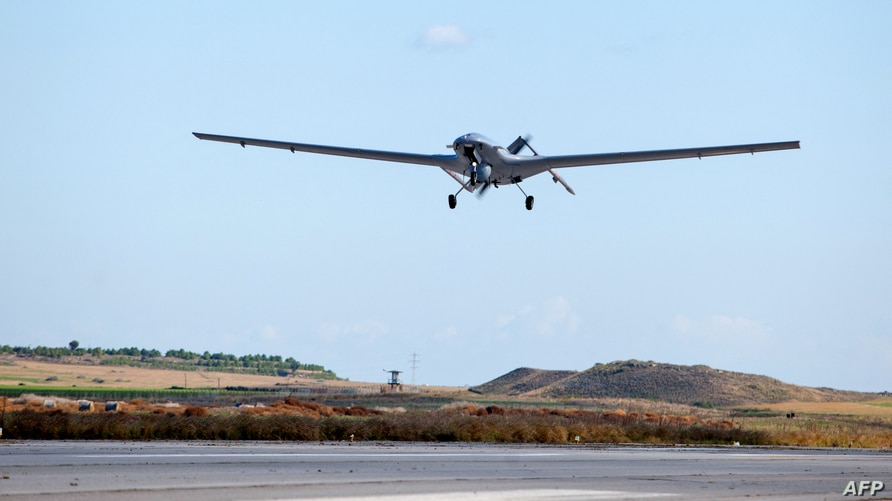 The Bayraktar TB2 drone is pictured flying on December 16, 2019 at Gecitkale military airbase near Famagusta in the self…