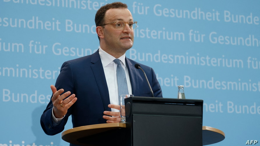 German Health Minister Jens Spahn gives a press conference at the Health Ministry in Berlin on May 17, 2021, following talks…