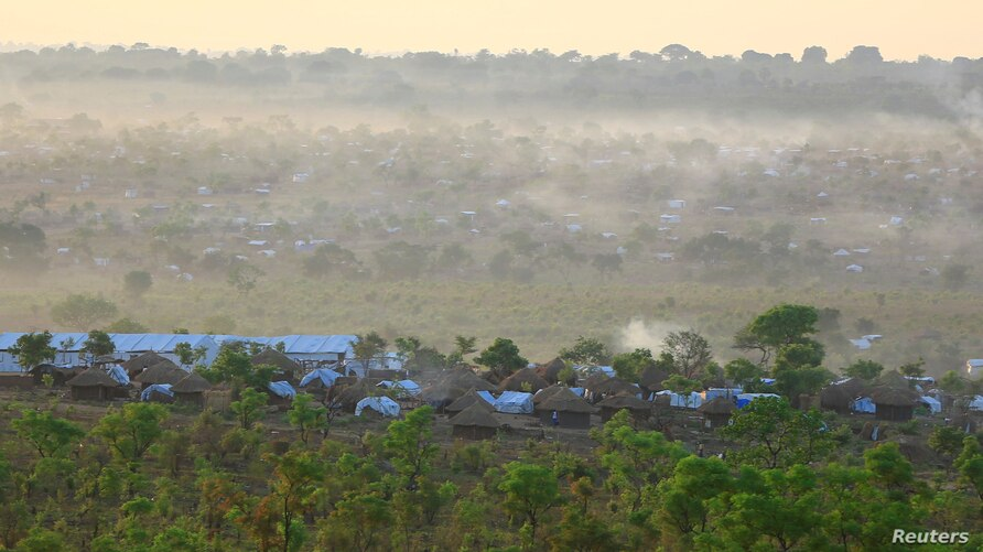 An aerial view of Bidi Bidi refugees camp where displaced South Sudanese families are sheltered in Yumbe district after fleeing…