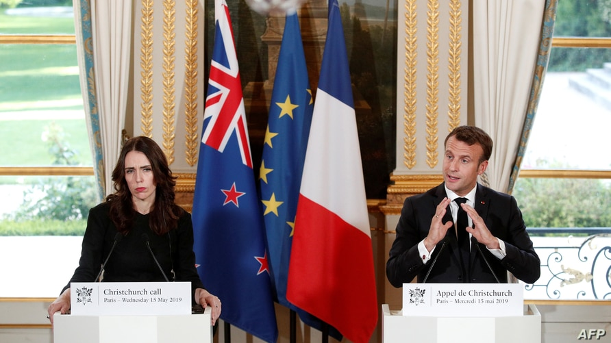 French President Emmanuel Macron and New Zealand's Prime Minister Jacinda Ardern hold a news conference during the …