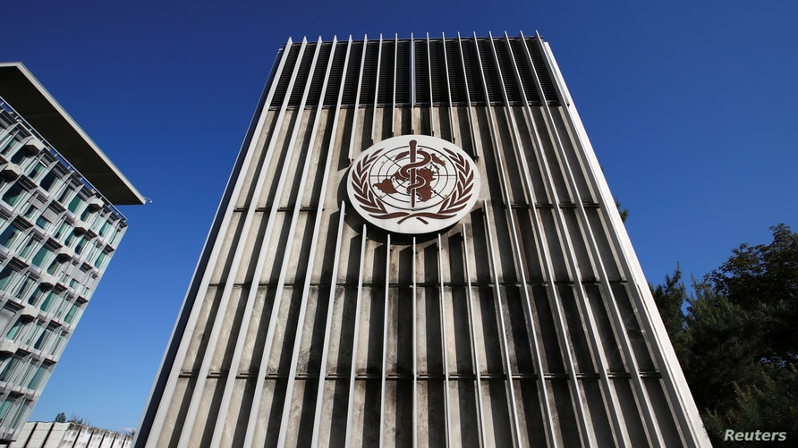 The headquarters of the World Health Organization (WHO) are pictured during the World Health Assembly (WHA) following the…