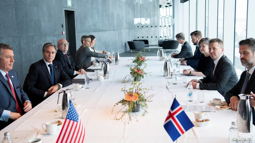Icelandic Foreign Minister Gudlaugur Thor Thordarson meets with U.S. Secretary of State Antony Blinken at the Harpa Concert…