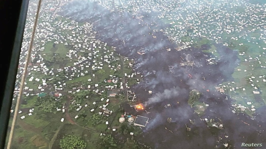 Aerial view shows the area affected by lava from the Mount Nyiragongo volcano eruption in Goma, Democratic Republic of Congo…