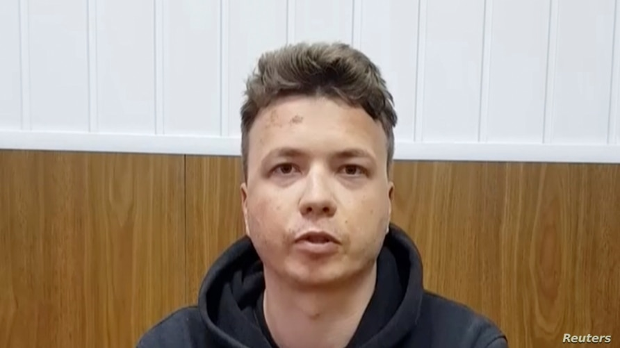 Belarusian blogger Raman Pratasevich, detained when a Ryanair plane was forced to land in Minsk, is said to be seen in a pre-trial detention facility in Minsk, Belarus May 24, 2021, in this still image taken from video. (Telegram@Zheltyeslivy/Reuters TV)