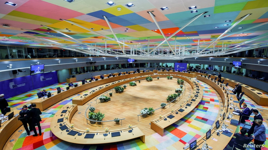 European Union leaders attend a round table meeting on the second day of a face-to-face EU summit in Brussels, Belgium May 25,…