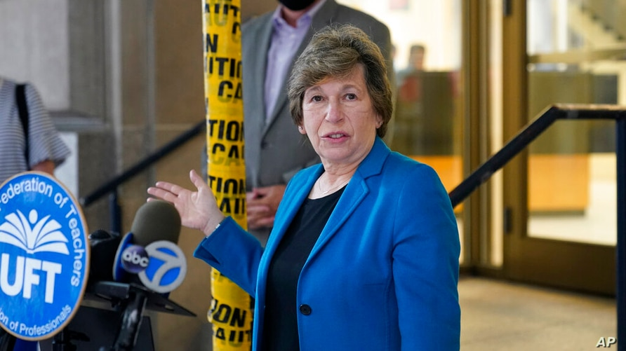 Randi Weingarten, president of the American Federation of Teachers, talks during a news conference in front of the Richard R…