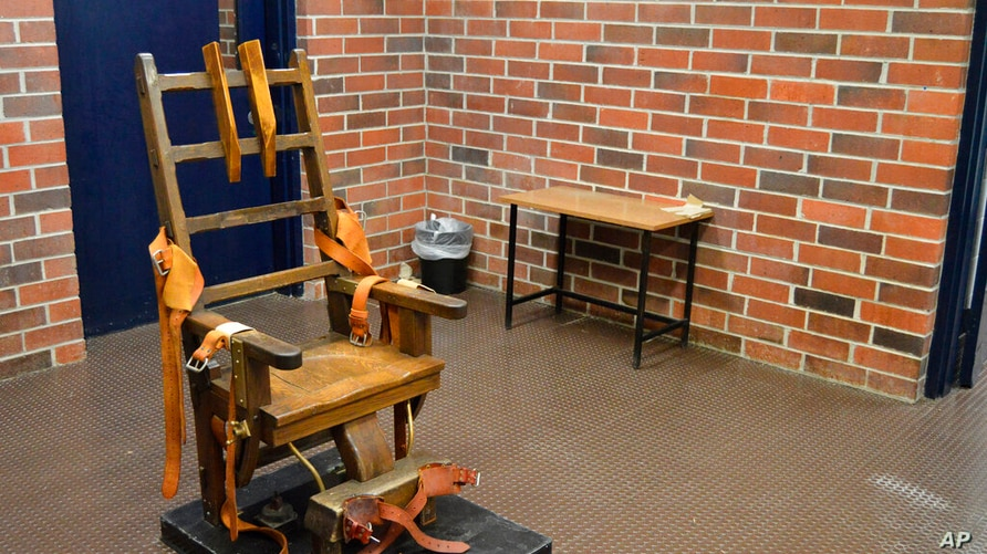 FILE - This March 2019, file photo, provided by the South Carolina Department of Corrections shows the state's electric chair…
