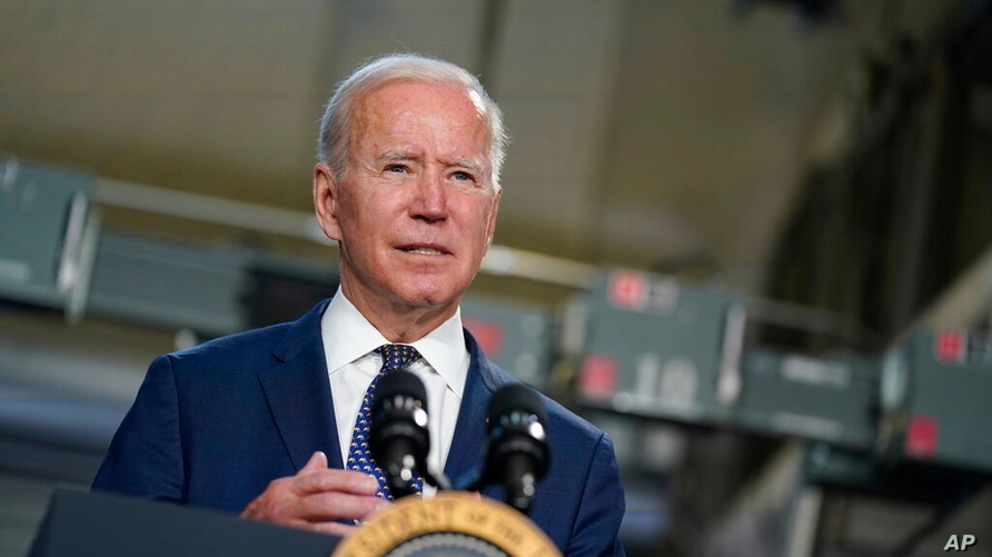 President Joe Biden speaks at Tidewater Community College, Monday, May 3, 2021, in Portsmouth, Va. Biden and the first lady are…