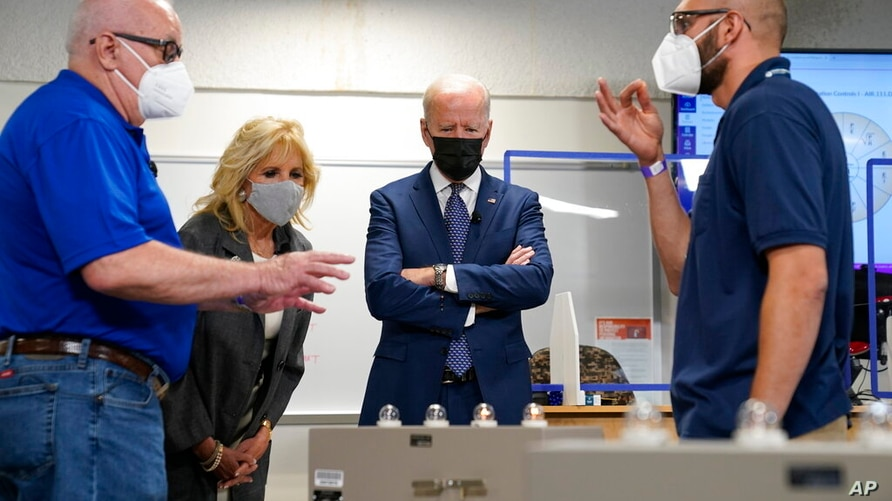 President Joe Biden and first lady Jill Biden, tour an HVAC workshop at Tidewater Community College, Monday, May 3, 2021, in…