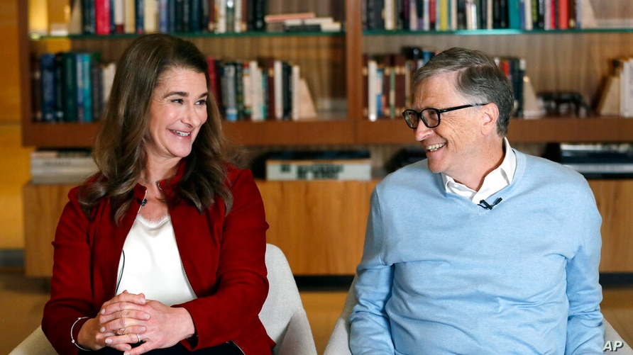 FILE - In this Feb. 1, 2019, file photo, Bill and Melinda Gates smile at each other during an interview in Kirkland, Wash. The…