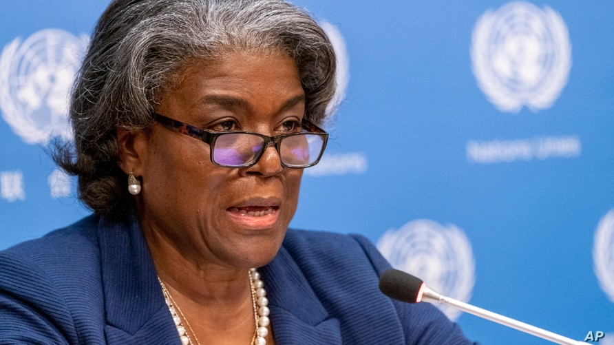 FILE - In this March 1, 2021 file photo, U.S. Ambassador to the United Nations, Linda Thomas-Greenfield speaks to reporters…