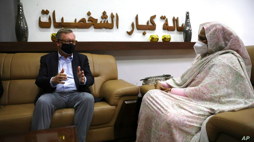 U.S. Special Envoy for the Horn of Africa Jeffrey Feltman, left, meets with Sudanese Foreign Minister Maryam al-Sadiq al-Mahdi…