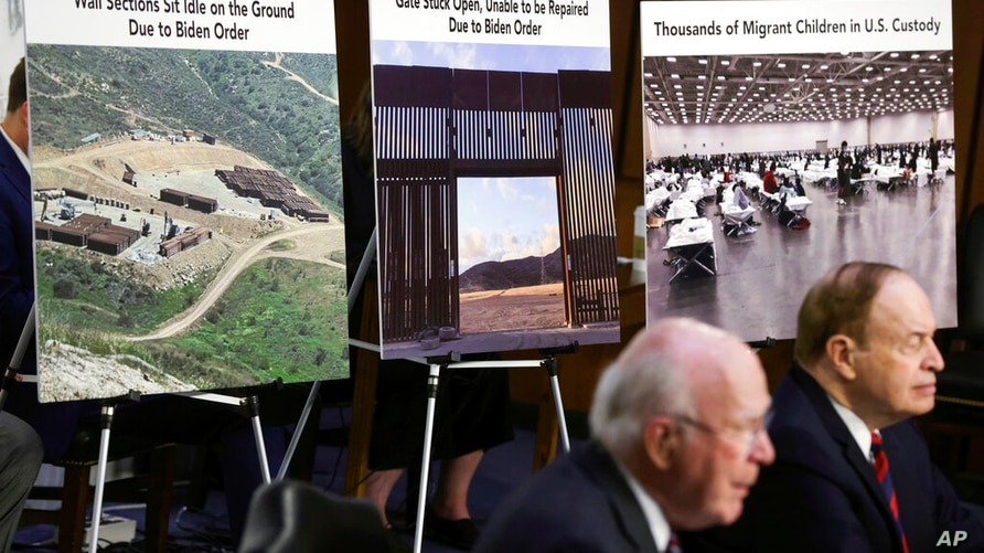 Posters are displayed as Committee Chairman Sen. Patrick Leahy, D-Vt., and Committee Vice Chairman Sen. Richard Shelby, R-Ala.,…