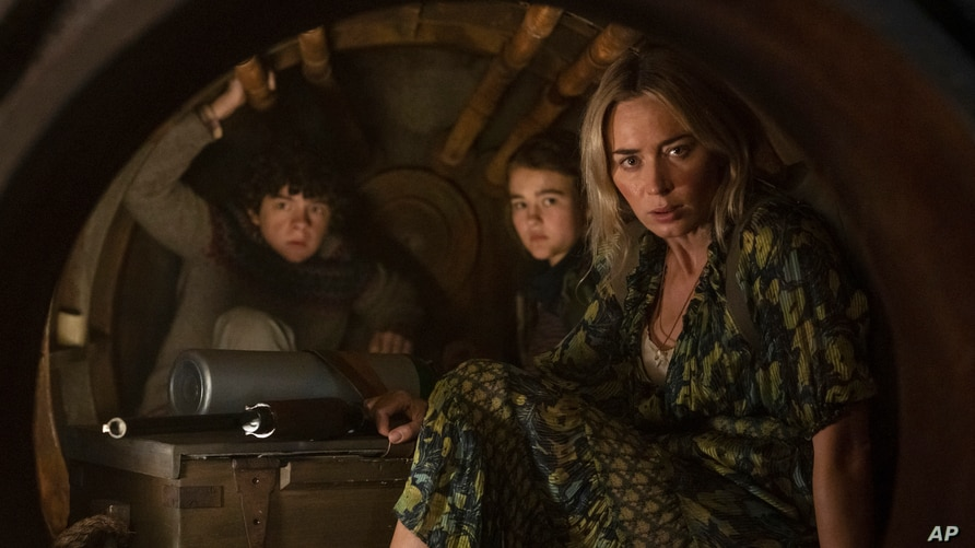 """From left, Noah Jupe, Millicent Simmonds and Emily Blunt in a scene from """"A Quiet Place Part II""""."""