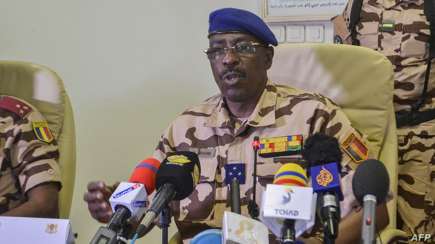 FILE - Chad's Defense Minister General Brahim Daoud Yaya speaks during a press conference at the Defense Ministry of in N'Djamena, May 6, 2021.