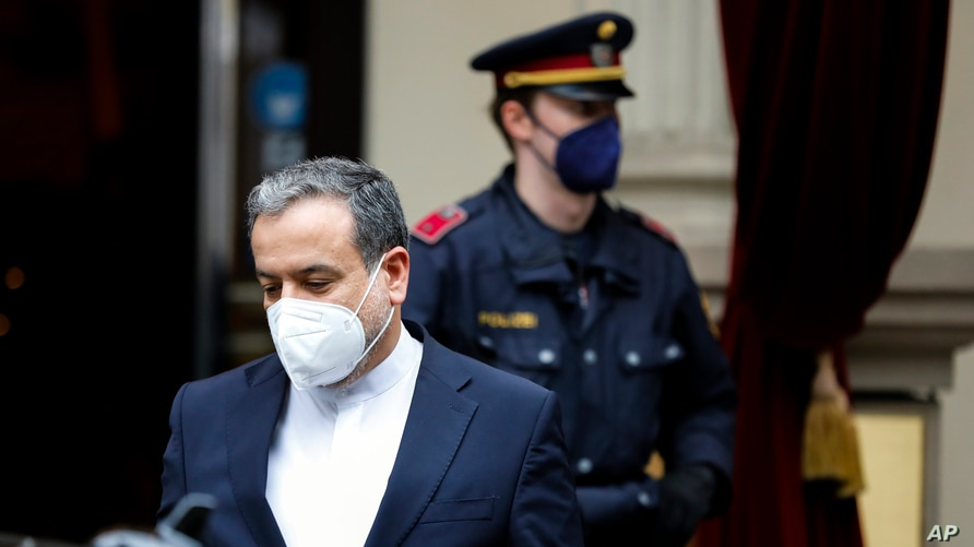 Iranian Deputy Foreign Minister Abbas Araghchi leaves the 'Grand Hotel Wien' where closed-door nuclear talks take place, in Vienna, Austria, May 25, 2021.