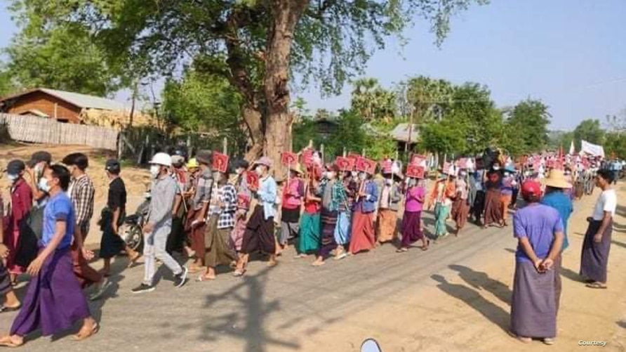 Protesters stage an anti-coup march in Myanmar's western Myaing township, May 1, 2021. (Photo: Citizen journalist via VOA's Burmese Service)