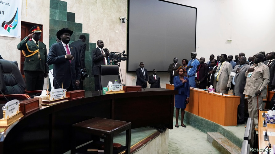 FILE - South Sudan President Salva Kiir attends the reopening of the First Session of the Transitional National Legislature, at the Parliament building in Juba, May 14, 2019.