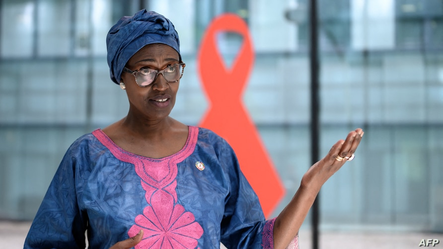 UNAIDS Executive Director Winnie Byanyima answers to AFP on July 3, 2020 in Geneva during an interview ahead of the publication…