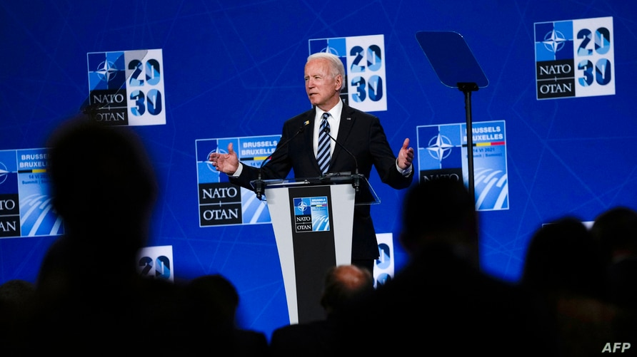 US President Joe Biden speaks during a press conference after the NATO summit at the North Atlantic Treaty Organization (NATO)…