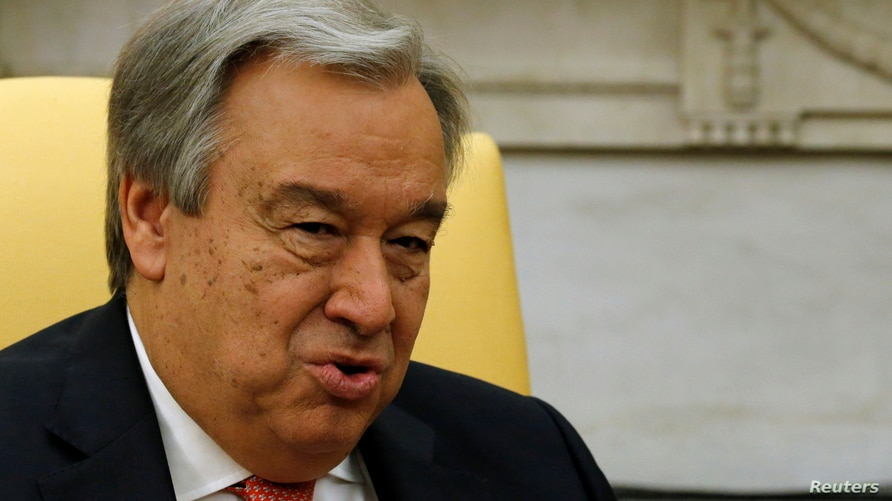 FILE - United Nations Secretary General Antonio Guterres delivers remarks to reporters.