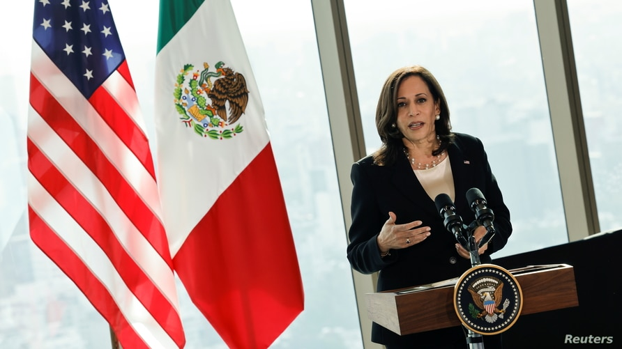 U.S. Vice President Kamala Harris delivers remarks during a press conference at the Sofitel Mexico City Reforma hotel in Mexico…