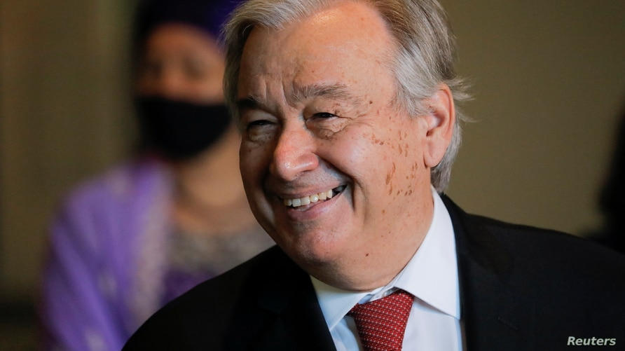 U.N. Secretary-General Antonio Guterres smiles while speaking to the media as U.N. General Assembly appointed him for a second five-year term from January 1, 2022, in New York City, New York, U.S., June 18, 2021.