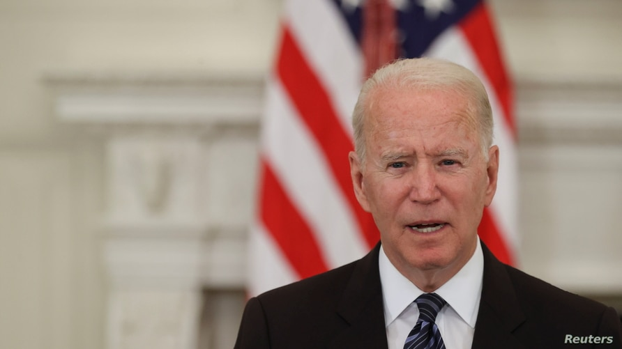 U.S. President Joe Biden delivers remarks after a roundtable discussion with advisors on steps to curtail U.S. gun violence, at…