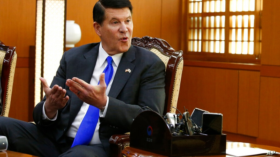 FILE - In this Nov. 6, 2019, file photo, U.S. Undersecretary of State Keith Krach talks with South Korea's Foreign Minister…
