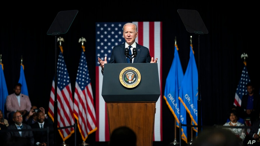 President Joe Biden speaks as he commemorates the 100th anniversary of the Tulsa race massacre, at the Greenwood Cultural…