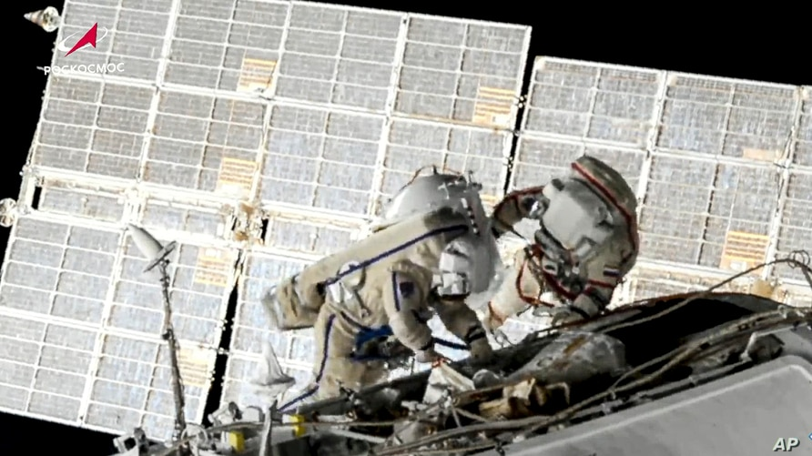 Russian cosmonauts replace old batteries outside the International Space Station, June 2, 2021.