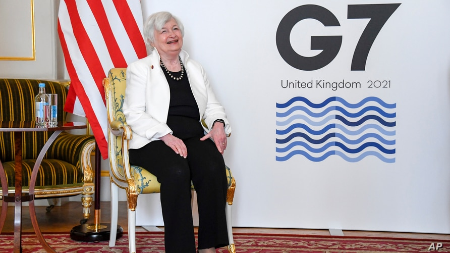 U.S. Treasury Secretary Janet Yellen poses for photographs as finance ministers from across the G7 nations meet at Lancaster…