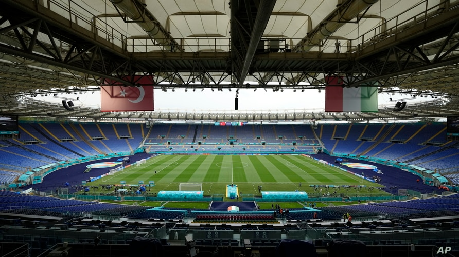 A view of the stadium prior to an Italian national team training session ahead of Friday's Euro 2020 opening group A soccer match against Turkey, at the Rome Olympic stadium, Thursday, June 10, 2021.