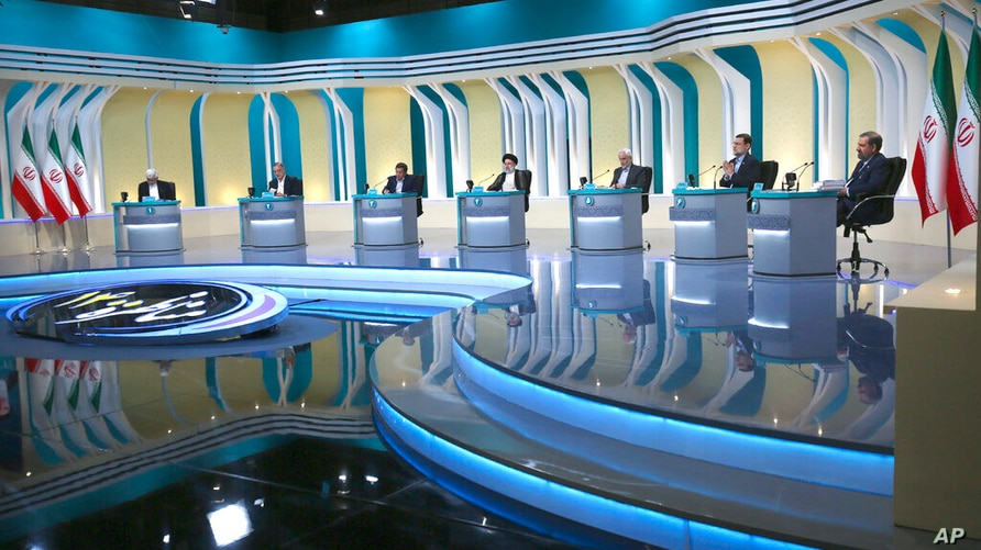 In this picture made available by Young Journalists Club, YJC, presidential candidates for June 18, elections from left to…