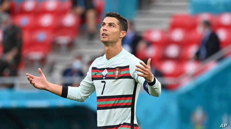 Portugal's Cristiano Ronaldo reacts during the Euro 2020 soccer championship group F match between Hungary and Portugal at the Ferenc Puskas stadium in Budapest, Hungary, June 15, 2021.