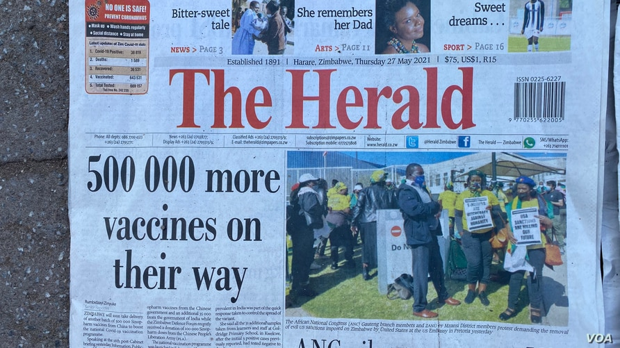 Since last month, state controlled media has been saying Zimbabwe will receive COVID19 vaccines from China to avert the current shortages, Harare, May 2021. (ColumbusMavhunga/VOA)