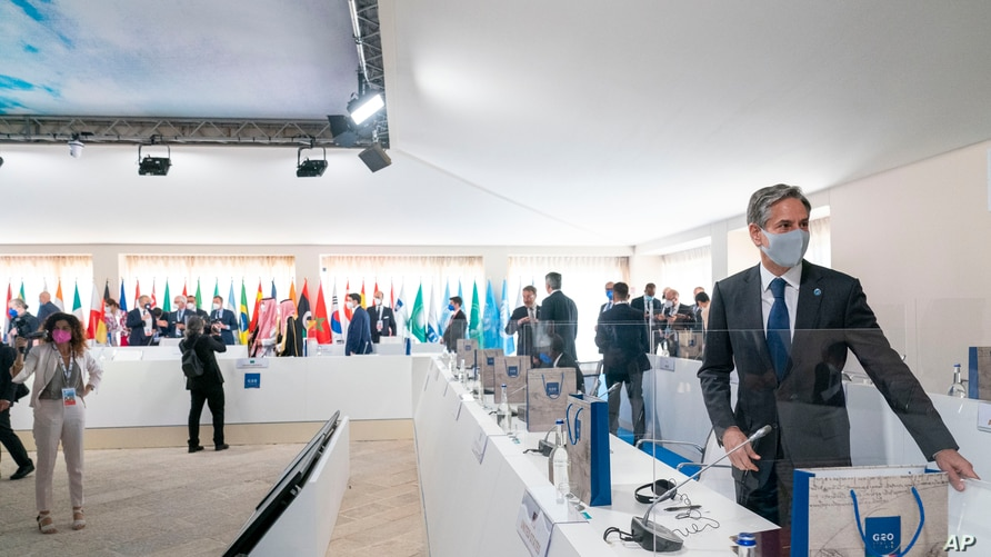 Secretary of State Antony Blinken arrives at a G20 foreign ministers meeting in Matera, Italy, June 29, 2021.