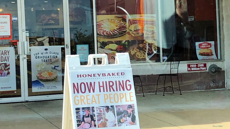 """A """"Now Hiring"""" sign sits outside a business in Prince William County in Virginia, June 20, 2021. (Photo: Diaa Bekheet)"""