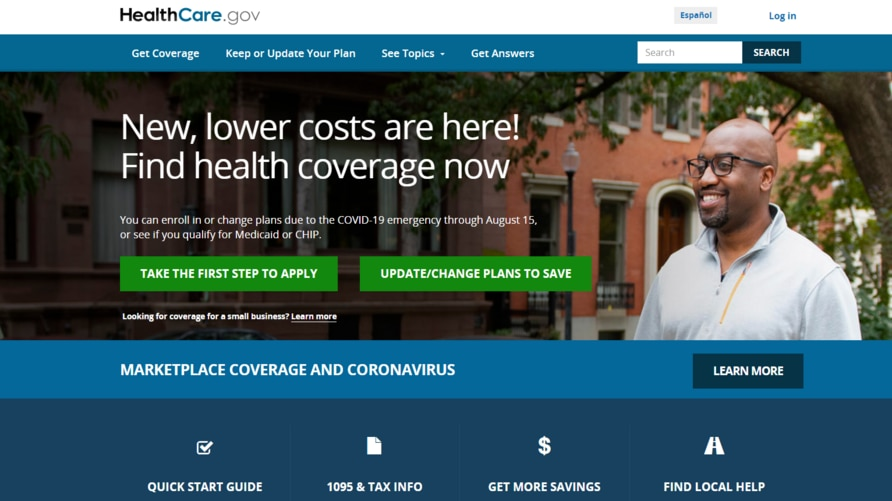 """A portion of the healthcare.gov website, where people can sign up for """"Obamacare"""" health insurance plans."""